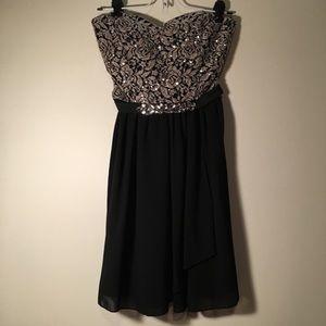 Dresses & Skirts - Black & Blush Strapless Formal Dress